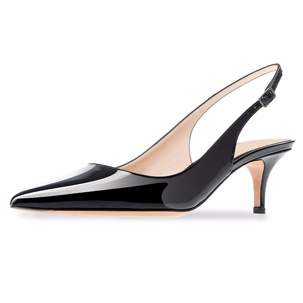 Fashion Women Sandals Women 39 s Patent Leather Pointed Slingback Ankle Strap Kitten Heels Pumps Stiletto Heel Sandals in High Heels from Shoes