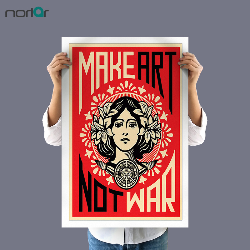 HD Art Print Make Art Not War Shepard Fairey Canvas Painting Poster Wall Pictures For Room Decoration Home Decor No Frame