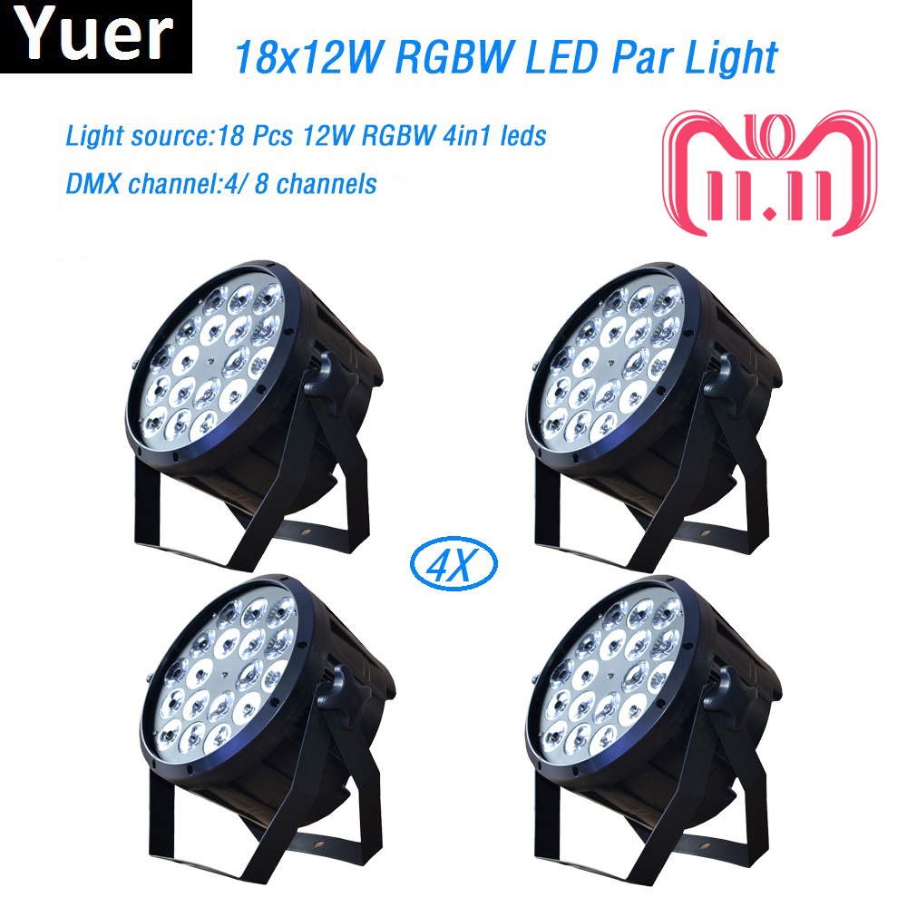 4Pcs/Lot 18x12W RGBW 4in1 led par light DMX Stage Lights Professional Flat Par Can for Party KTV Disco DJ professional lighting 8pcs lot 18x12w rgbw 4in1 led par light dmx stage lights business lights professional flat par can for party ktv disco lamp