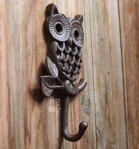 Image 3 - H:19 см, промышленный ретро стиль, чугунный настенный крючок в виде совы, крючки для одежды
