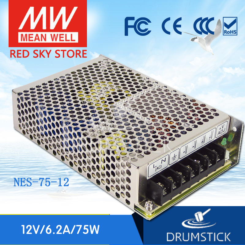 (12.12)MEAN WELL original NES-75-12 12V 6.2A meanwell NES-75 12V 74.4W Single Output Switching Power Supply original mean well nes 350 12 ac to dc single output 350w 29a 12v meanwell power supply nes 350