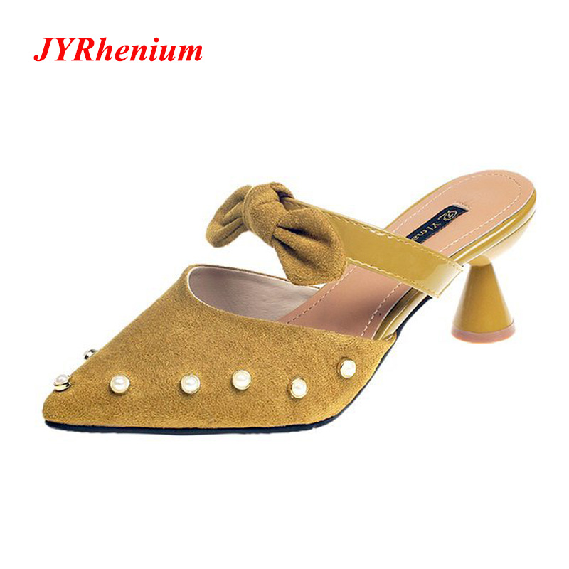 JYRhenium Summer And Autumn Ladies Sandals Cone With Small Bow Pointed Sandals And Slippers Pearl Accessories Women's Shoes