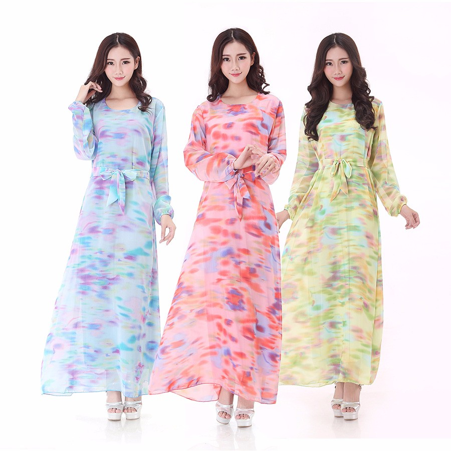 9b9fdadcf New arrival Print Chiffon long dress muslim abaya jilbab clothing for women  burka abaya designs dubai islamic dresses with hijab-in Islamic Clothing ...