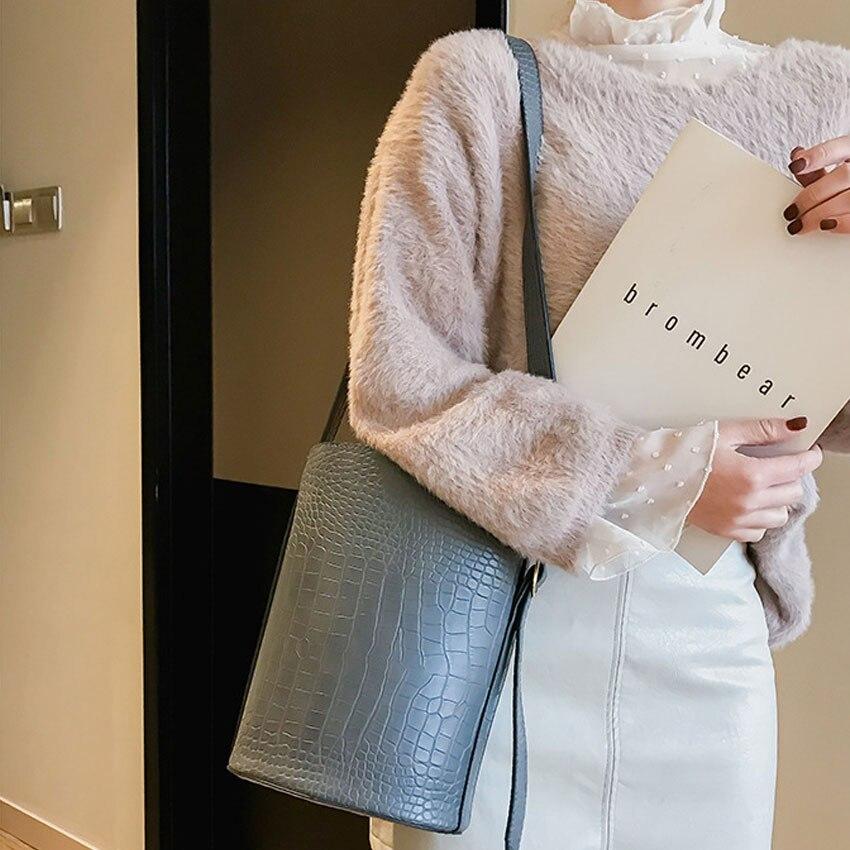 Women\'S Handbag Crossbody Shoulder Bag For Girls Crocodile Pattern Handbags Women Casual Retro Female PU Leather Bucket Bag