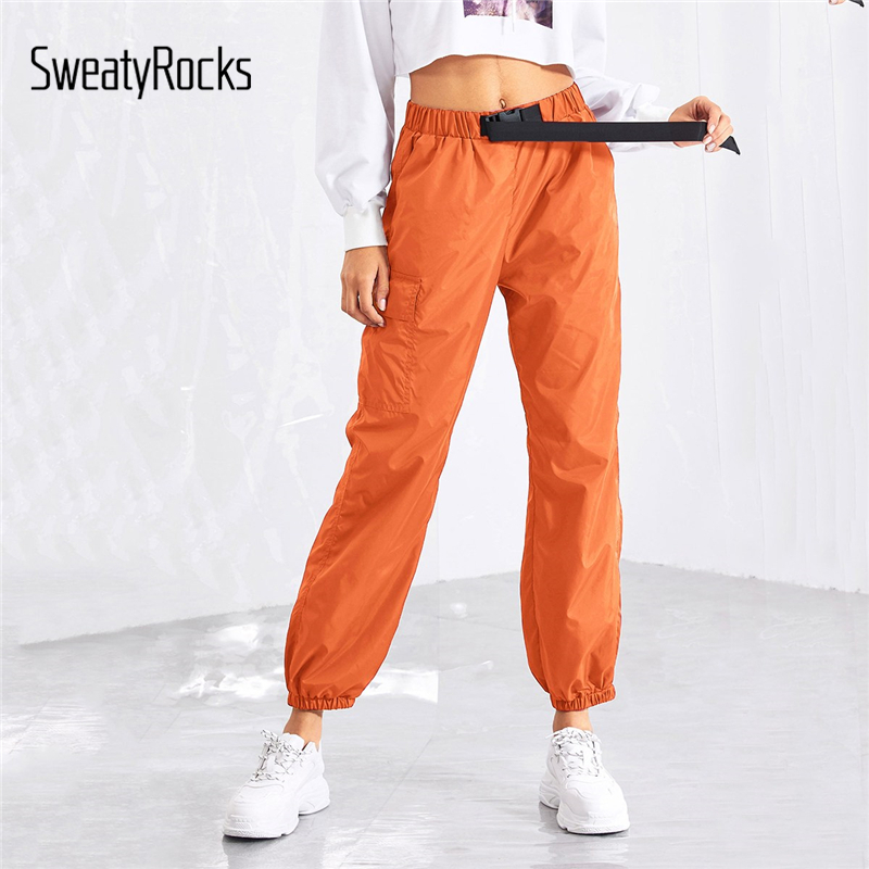 SweatyRocks Push Buckle Belt Front Pocket Side Pants Solid Casual Orange Tapered Trousers 2019 Spring Women Athleisure Pants