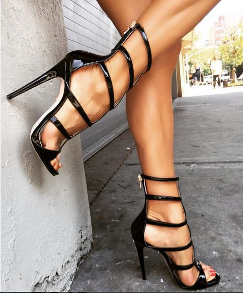 Promotion fashion open toe thin high heel sandals boots cut-outs gladiator zipper summer women dress sandal booties shoes