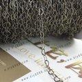 100 m / lot бронза тон медь цепь в форме сердца ссылка цепочки 3 * 4 мм