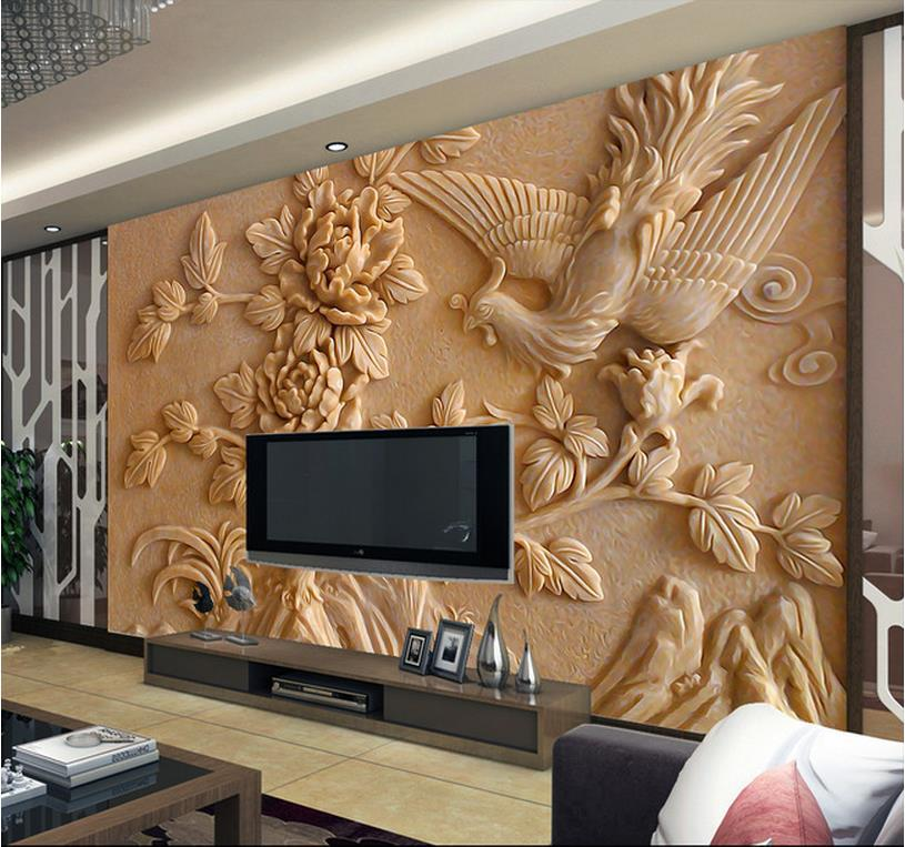 Europea 3d wall murals wallpaper, photo relief Phoenix and peony for Tv sofa background wall ...