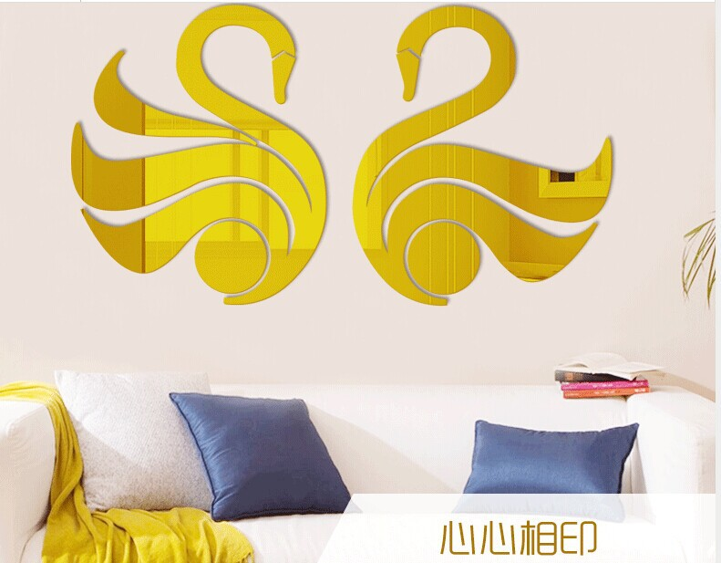 Free shipping LOVE SWAN decoration miror sticker , Sweet Acrylic mirror wall sticker for home deco 2pcs per pair