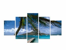 5 Pieces Coconut Tree Blue Sky And Ocean Beach Home Wall Decor Canvas Picture Art HD Print Painting On Artworks Framed