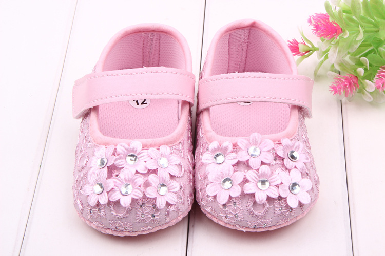Fashion Infant Baby Girls Flower Soft Sole Prewalker Crib First Walkers Skid-proof 0-12 Months Princess Soft Sole Shoes Floral