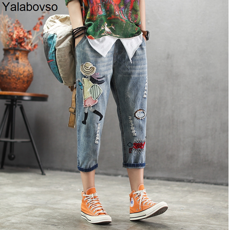 Woman Calf-length pants Casual   Jeans   Denim Embroidery Trousers for woman Harem pants Female with cartoon Embroidery A0BZ30