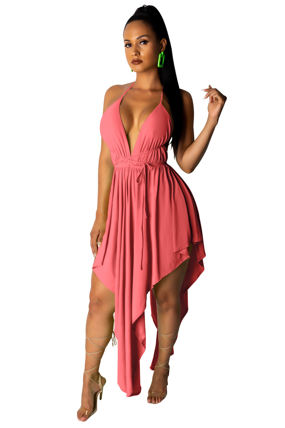2019 European And American Women Strap Sexy Backless Irregular Dress Summer Beach Dress in Dresses from Women 39 s Clothing