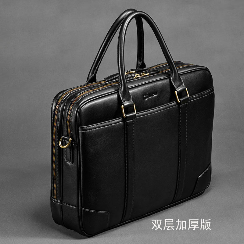 first class 100% genuine leather men brand business handbag, soft cow leather computer bags, male fashion design luxury handbags