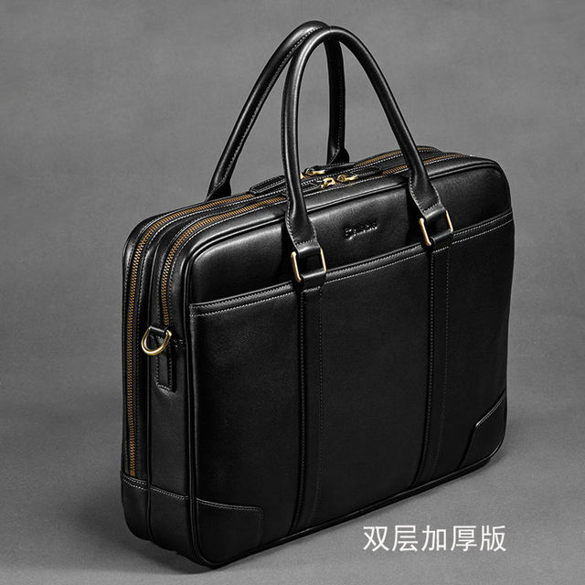 First Class 100 Genuine Leather Men Brand Business Handbag Soft Cow Computer Bags