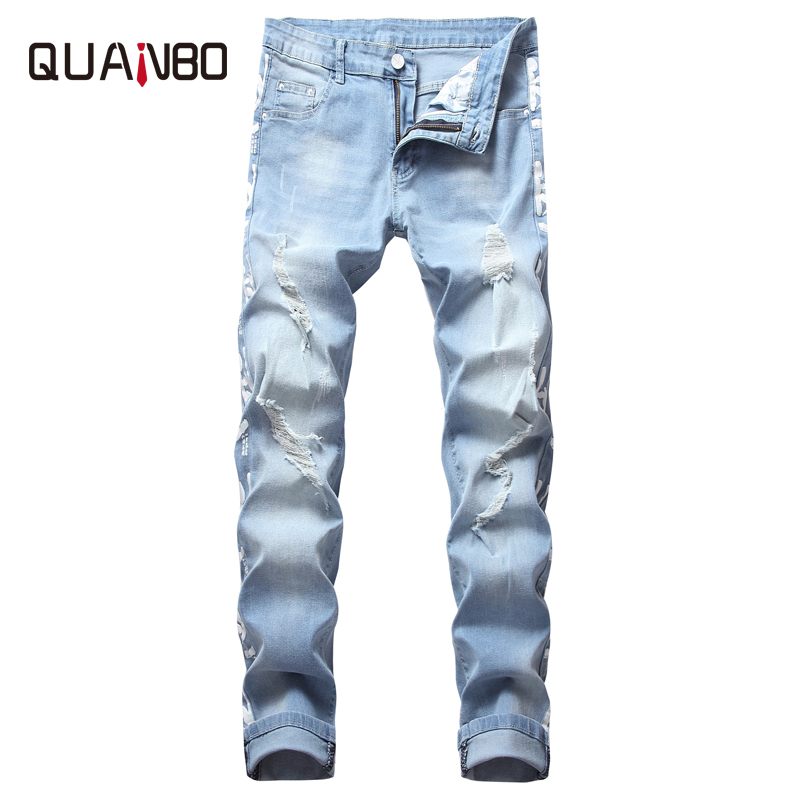 QUANBO 2019 New Hole Ripped Stretch Printing Black Jeans Mens Slim Straight Fashion Denim Cotton Trousers  Street Jeans Brand