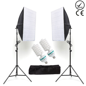 Image 2 - ZUOCHEN Photo Studio Softbox Continuous Lighting Kit Background Soft Box Light Stand+ 3 Backdrops + 2*2M Backdrop Support Kit