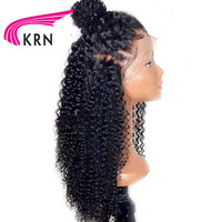 KRN Pre Plucked Full Lace Human Hair Wigs With Baby Hair Remy Hair Glueless Curly Brazilian Full Lace Wig 130 Density