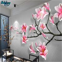 beibehang New Chinese Stereo Magnolia Backdrop Decorative Painting Custom Living Room Wallpaper Mural