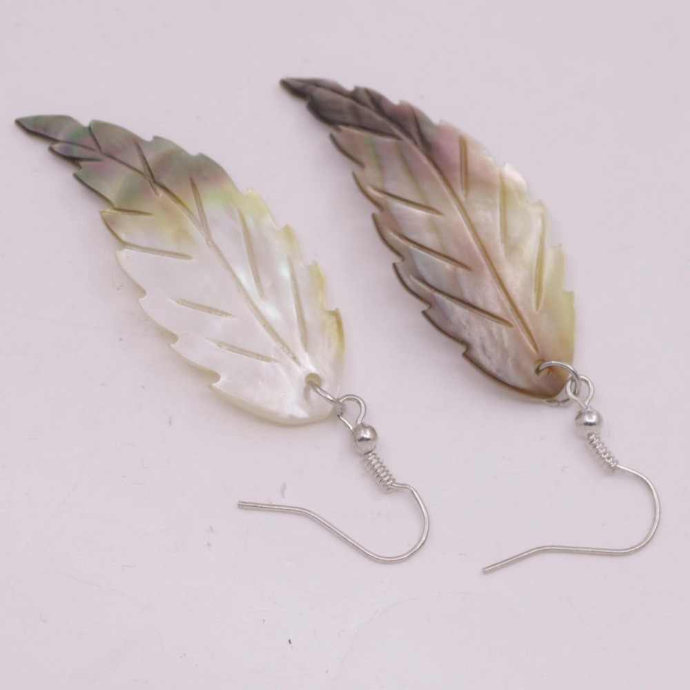 10PCS Leaf Shape Shell Natural Beige Black Mother of Pearl Charms 20mmX45mm