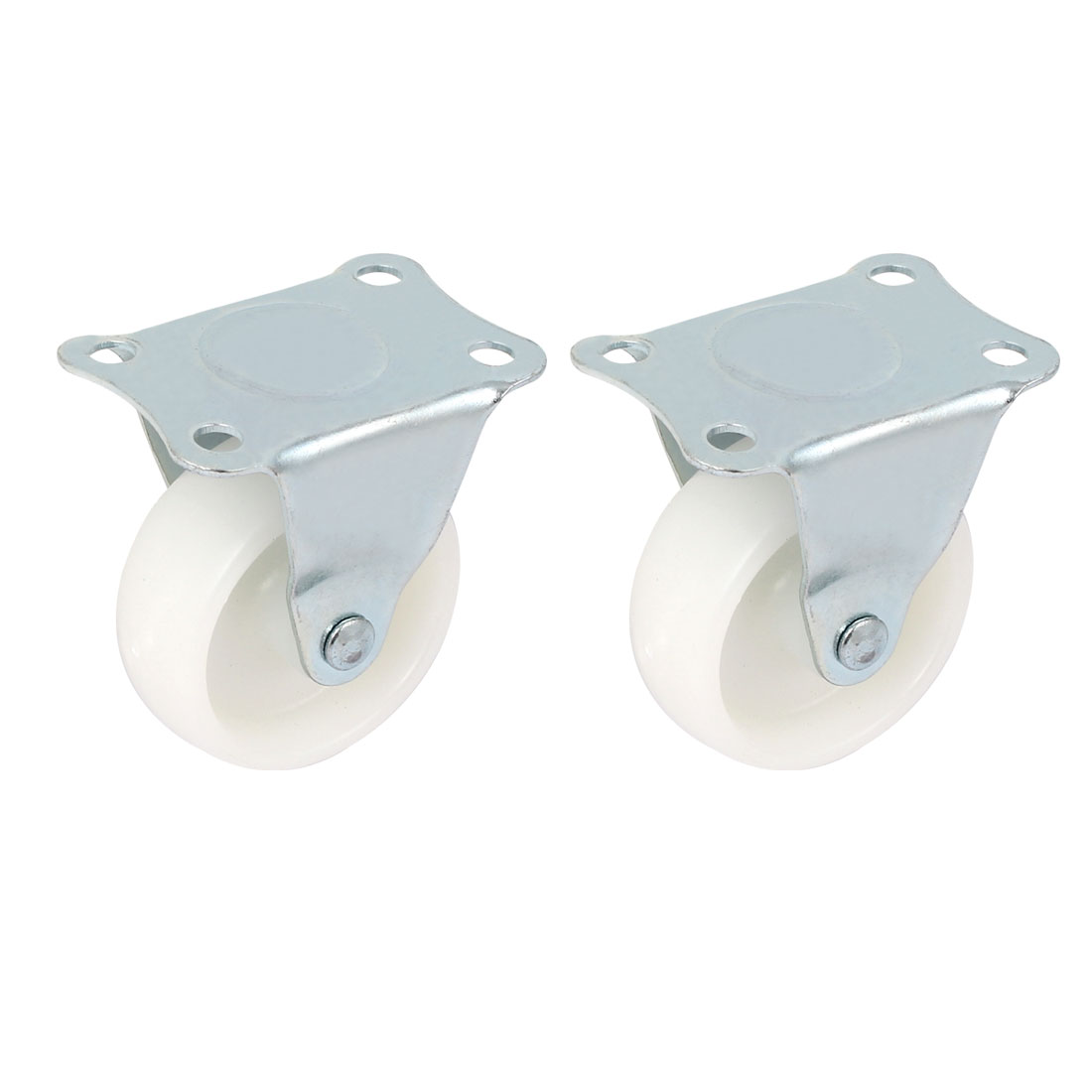 UXCELL Furniture Rectangle Fixed Metal Top Plate 2 Diameter Caster Wheel White 2Pcs hot sale in stock new 4 pcs practical 1 plastic wheel rectangle top plate fixed swivel caster set