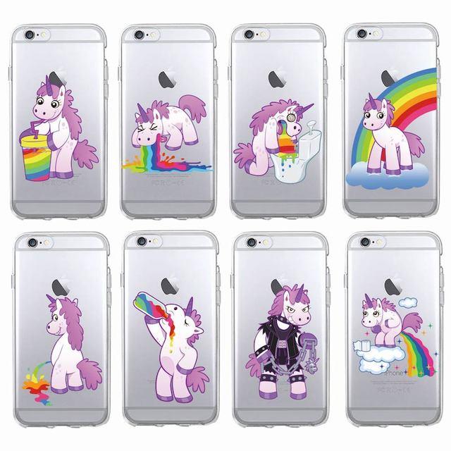ファッションかわいいユニコーンレインボー面白いソフトクリア電話ケースカバーfundas coque用iphonen 7プラス7 6 6 s 6プラス5 5 s se 5c 4