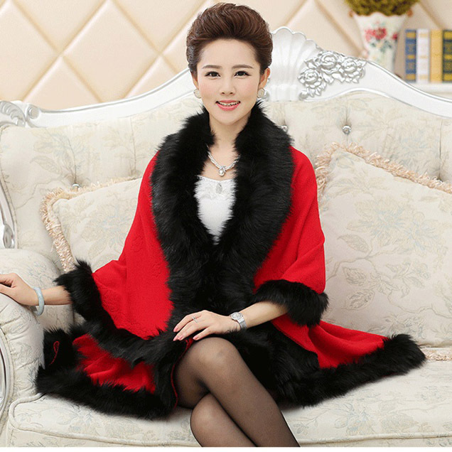 e0b2f46e161 Free Drop shipping Fake cashmere cape with faux fox fur trim European Big  Plus Size Shawl many colors knitted Sweater warm coat