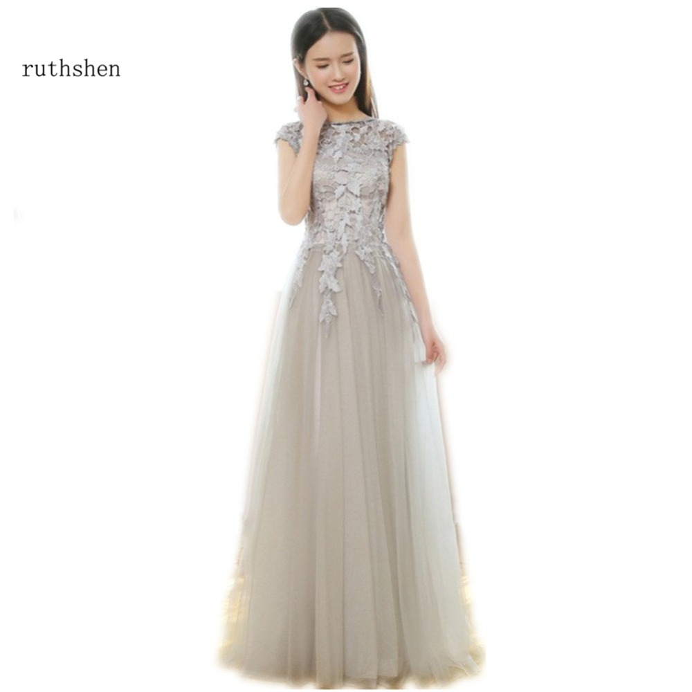 ruthshen Under 50 Long Silver Gray   Bridesmaid     Dresses   Cheap Cap Sleeves Lace Draped Tulle Wedding Guests   Dress