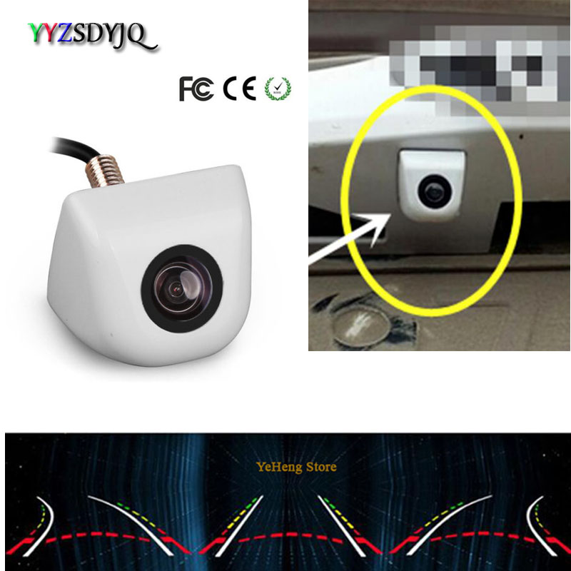 YYZSDYJQ Car CCD Rear View Reverse Dynamic Track Parking Camera Universal Type Wired White Cam for Audi/VW/Passat/Tiguan/Golf