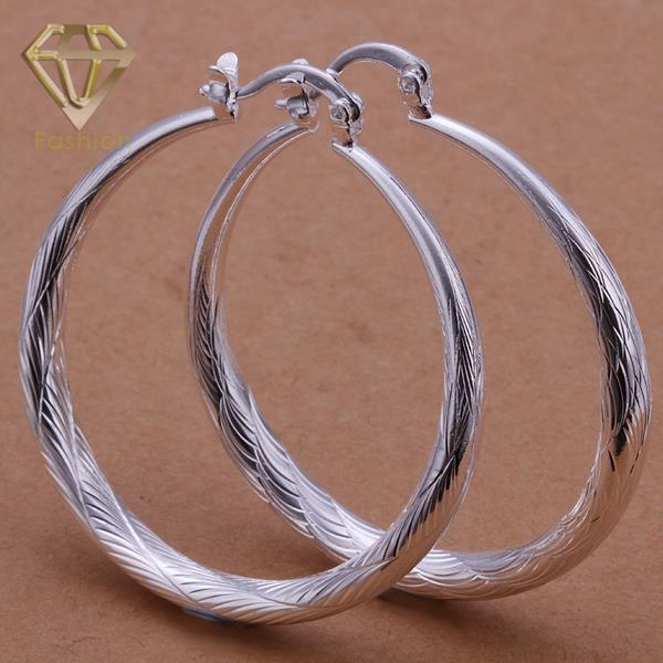 New Fashion Silver Plated Jewelry Beautiful Big Round Fish Texture Earrings for Women Girls Party Birthday Christmas Gift