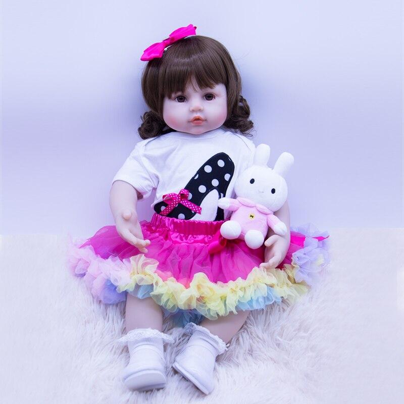 Exclusif nouveau 58 cm bébé fille silicone poupées coton corps reborn nouveau-né poupée jouets pour enfants réel Non-toxique bebe cadeau reborn