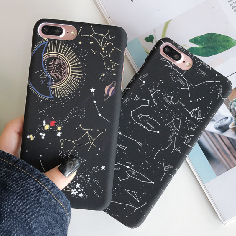 Slim Space Moons Planet Stars Case for iPhone 6 6s 7 8 Plus X 10 XS Max XR Matte