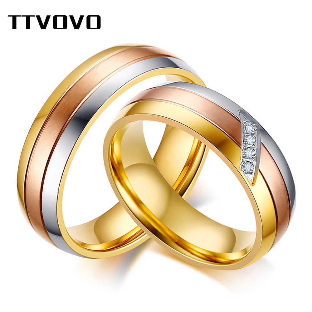 TTVOVO Wedding Ring Engagement Bands for Women Men Cubic Zircon CZ Stone Stainless Steel Female Male Promise Jewelry Custom Ring