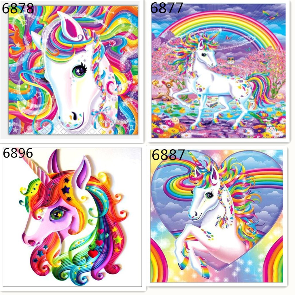 "Full Square/Round Drill 5D DIY Diamond Painting ""Cartoon unicorn"" 3D Embroidery Cross Stitch 5D Home Decoration"