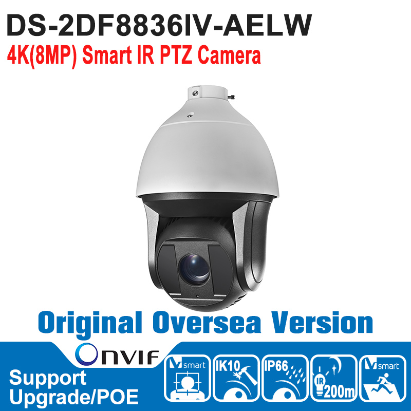 HIK   DS-2DF8836IV-AELW Hik PTZ Camera 8MP 2160P HI-POE 4K Smart IR PTZ Camera Outdoor CCTV Security Camera IP66 IK10 hikvision ds 2de7230iw ae english version 2mp 1080p ip camera ptz camera 4 3mm 129mm 30x zoom support ezviz ip66 outdoor poe