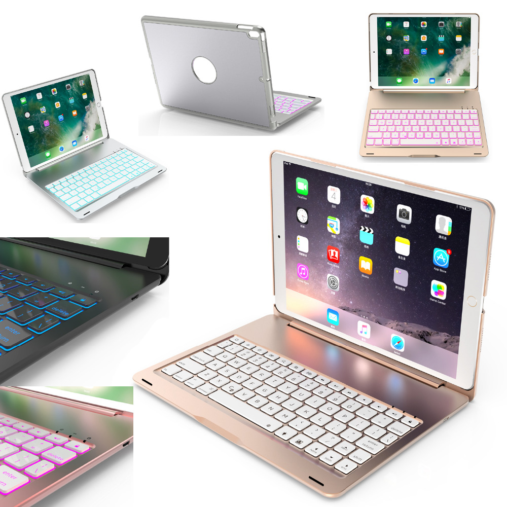 Russian/Hebrew/Spanish 7 Color Backlit Wireless Bluetooth Keyboard Aluminium Smart Stand Keyboard Cover Case For iPad Pro 10.5 russian hebrew spanish removable wireless bluetooth keyboard stand pu leather case for apple ipad 9 7 2017 pro 9 7 air air2