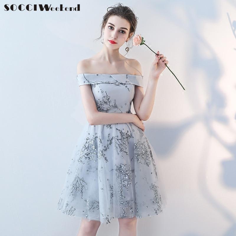 SOCCI Weekend Short Gray Bridesmaid Dress 2018 Women Off