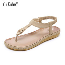 Yu Kube Summer Shoes Woman Sandals Sandalias Mujer 2019 Soft Slides Flip Flops Wedges Flat Ladies Beach Sandals Plus Size(China)