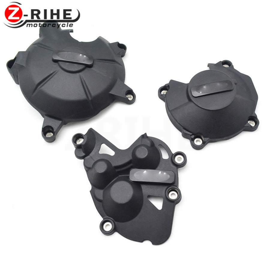 FOR 1SET 2017 New CNC Aluminum&ABS Motorcycle Engine Protective Cover Accessories For Kawasaki Ninja ZX6 W800 SE Versys 650 ER-5