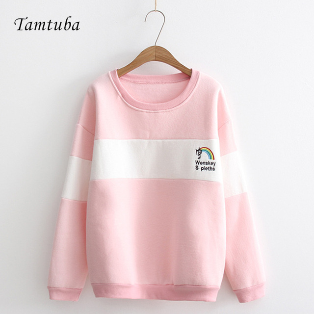 Rainbow Embroidery Patchwork Fleece Cotton Pullover Hoodies Women ...