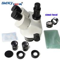 Free Shipping 3 5X 45X Simul Focal Trinocular Zoom Stereo Microscope Head WF10X 20 SZM0 5X