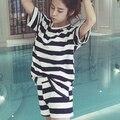 Бесплатная доставка Досуг одежда Новые 2017 весной и летом с коротким рукавом женщин пижамы полоса шелковые пижамы прекрасный 90 S пижамы