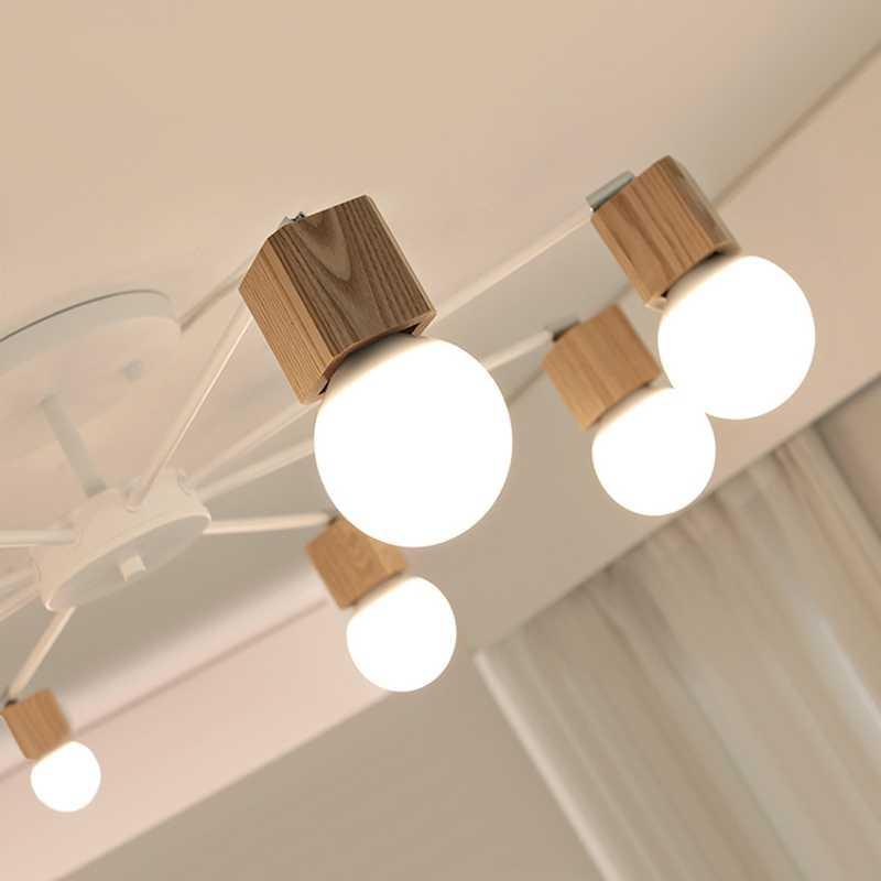 Jepang Retro Kayu Lampu Gantung LED Lampu Langit-langit Lampu untuk Ruang Tamu Dapur Lustres De Sala Plafon Luminarie Lampu