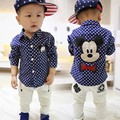 2016 autumn new brand children's clothing kids boys shirts long sleeve with collar lovely cartoon mickey polka dot shirts Spring