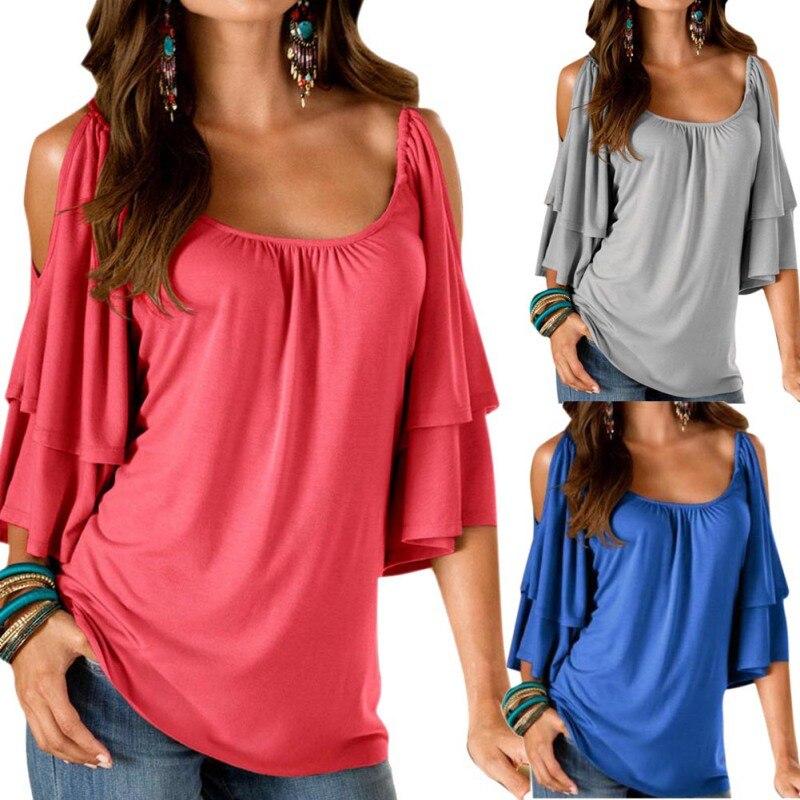Летние модные женские туфли футболка Boho Повседневное топ с открытыми плечами рубашка Повседневное свободные Топы корректирующие
