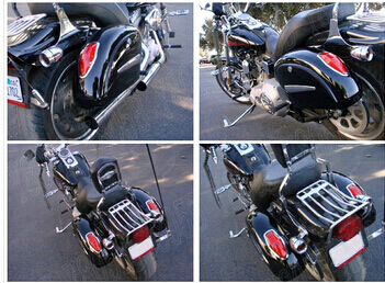 Black Hard Saddlebags Trunk Lights Bag Luggage Mounting For
