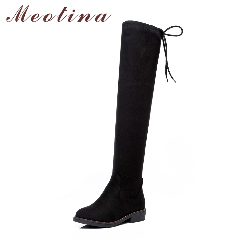 Meotina Women Boots Low Heels Over the Knee Boots 2018 Stretch Thigh High Long Boots Female Autumn Shoes Big Size 34-43 Black 2017 winter new fashion women brown or white color square toe heels over the knee high thigh boots martin long boots big size 42