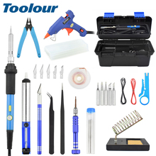 Toolour 33 in 1 Electric Soldering Iron Kit US/EU 60W Switch Adjustable Temp Welding Tool Set 100-240V 20W Glue Gun with Toolbox