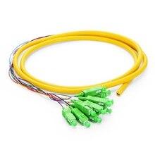 QIALAN 1.5m (5ft) 12 Fibers SC/APC 9/125  0.9mm PVC Jacket Single Mode Bunch Fiber Optic Pigtail