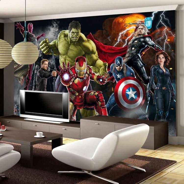 Avengers Photo wallpaper Custom 3D wallpaper for walls Hulk Iron man Captain America Wall mural Boy Bedroom Living room Designer